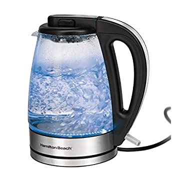 Hamilton Beach 1.7 L Glass Electric Kettle for Tea and Water, Cordless, LED Indicator, Auto-Shutoff and Boil-Dry Protection, Brushed Metal (40865), Clear