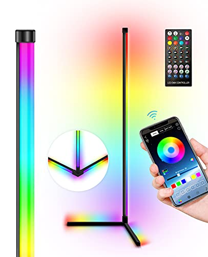 """Corner Floor Lamp-RGB Color Changing Mood Lighting Music Sync LED Modern Floor Lamp,Tall Standing Lamp feet Glow with Bluetooth Remote Smart App Control for Living Room, Bedroom, Party(Black 63"""")"""
