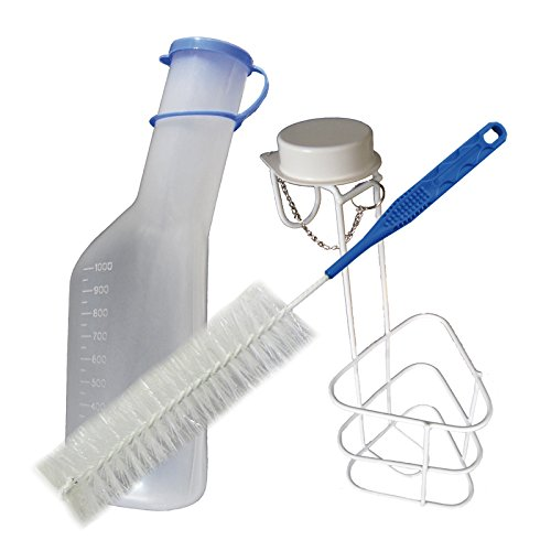 orina botellas orina Botella Set Completo: 1x Botella para orinar (. + 1x cama Soporte Soporte Soporte para Urinal Urinal + 1x Cepillo de limpieza 1pieza (= 1set) de Tiga Med 🔥