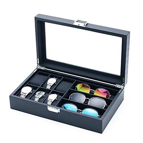 MQ Uhrenbox für Brillen, Sonnenbrillen, Organizer mit Glasdeckel für Herren/Damen, Karbonfaser-Uhrenhalter, Schmuckschatulle, 6 Fächer für Uhren und 3 Fächer für Brillen-Sammlung (schwarz)