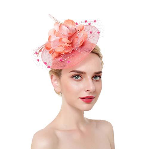 Bigood Bibi de Soirée Mariage Pince à Cheveux Plume Chapeau Cocktail Élégant Corail