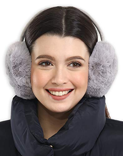 Ear Muffs for Women - Winter Ear Warmers - Soft & Warm Cable Knit Furry Fleece Foldable Earmuffs Ear Covers for Cold Weather