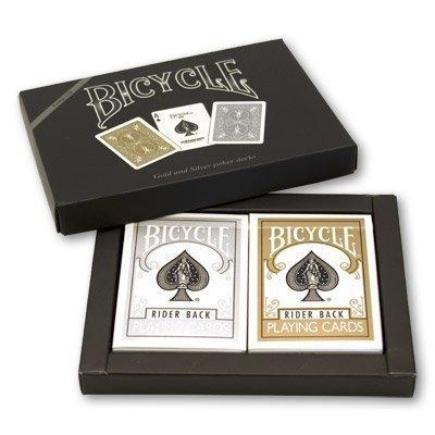 """Carte da gioco modello """"Bicycle"""", 1 mazzo oro e 1 mazzo argento, in cofanetto della United States Playing Card Company"""