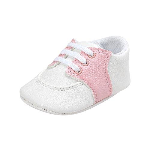 ESTAMICO Dziecięce chłopięce dziewczęce buty niemowlęce skóra PU przedszkolaki buty sportowe różowe 12-18 miesięcy