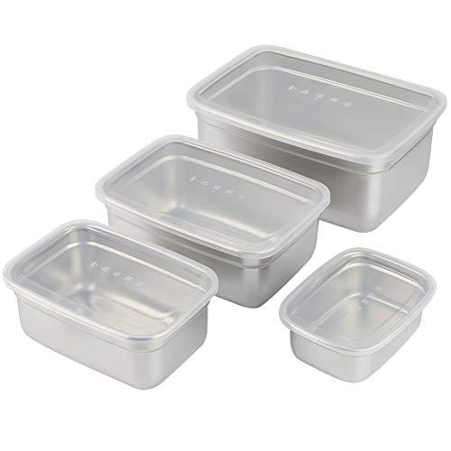 Lebensmittelbehälter - 4-teilige Lebensmittelbehälter aus Edelstahl mit auslaufsicheren Deckeln Rechteckige Aufbewahrungsbox für Lebensmittel
