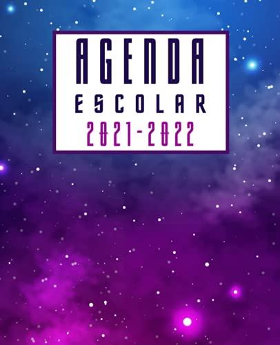 Agenda Escolar 2021-2022 Espacio: Planificador semanal para niñas y niños | 1 semana en 2 páginas | Agenda 2021 2022 semana vista | Material escolar colegio secundaria estudiante | Portada galaxia