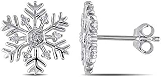 Pendientes de botón de copo de nieve con detalles de diamantes Sterling Silver 0.06 ct. Pendientes Star Snowflake