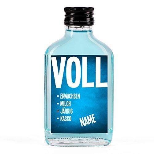 Herz & Heim® Likör mit Namensaufdruck zum 18. Geburtstag - VOLLjährig Blaues Etikett