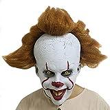 Ysoom Pennywise Maske mit Perücke - Halloween Horror Maske perfekt für Fasching, Karneval...