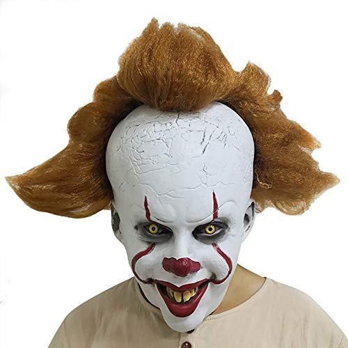 Phayee Clown masker, herenmasker met aangebrachte haar, één maat, hoofddeksel, kostuumfeest cosplay kostuum