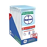 Napisan, 320 Salviette Igienizzanti, Multisuperfici, Biodegradabili, Formula 0%, 8 Confezioni da 40 Salviette Igienizzanti