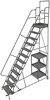 Tri-Arc KDSP112246 12-Step Stock Picking Industrial & Warehouse Steel Rolling Ladder with Perforated Tread