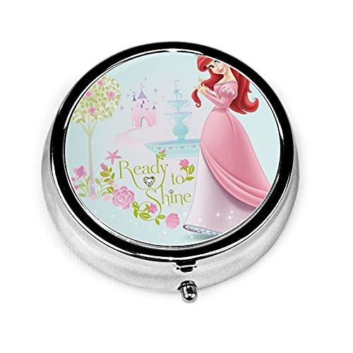 Dis-ney - Caja de medicina redonda con diseño de princesa, 3 cuadrícula