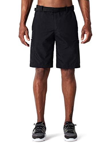 Naviskin Men's Quick Dry UPF 50+ Cargo Shorts Lightweight Hiking Outdoor Shorts Black Size XXL