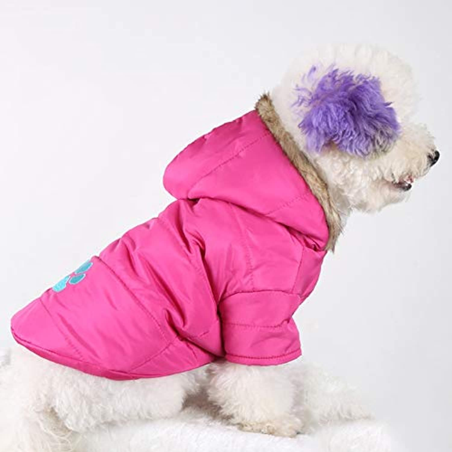 Pet Supplies hyx and Winter Style Pet Embroidered Dog Thicken Warm Cotton Garment Size  M, Bust  5259cm, Neck  3337cm (color   Pink)
