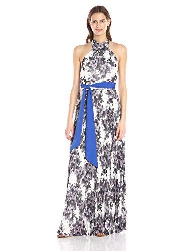 Eliza J womensEJ6M0801Floral Halter Maxi Sleeveless Dress - Gray - 12