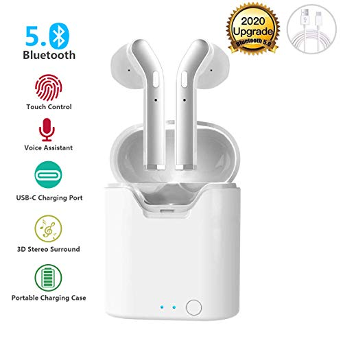 Kabellose In-Ear-Kopfhörer, True Wireless Bluetooth 5.0, Geräuschunterdrückung, Kopfhörer mit Ladehülle, integriertes Mikrofon, TWS Stereo-Kopfhörer, kompatibel mit allen Bluetooth-Geräten weiß