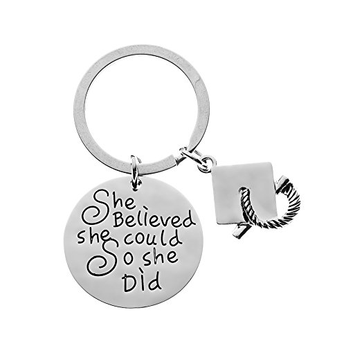 Graduation Keychain for Girls, Inspirational She Believed She Could So She...
