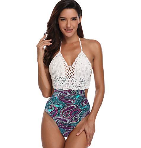 SHEKINI Bikini Imbottito Costume Intero Un Pezzo Donna alla Moda Stampati Halter Regolabile Tracolla Costumi da Bagno Interi Triangolo Elegant Bikini da Spiaggia