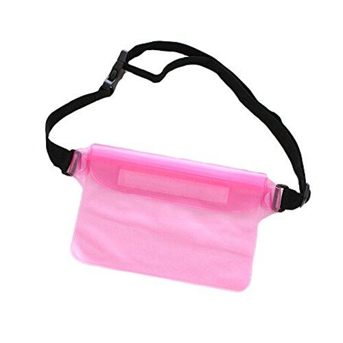 Pochette imperméable unisexe Fanny Pack taille sac pour plage/piscine/Randonnée/– Rose