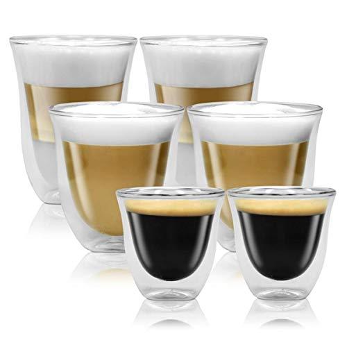 Delonghi Big Set doppelwandige Thermogläser Espresso, Latte Macchiato und Cappuccino