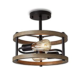 KINBEDY Retro Semi Flush Mount Ceiling Light Fixture 2 Light E26 Rustic Vintage Wood Ceiling Light Black Metal Industrial Farmhouse Close to Ceiling Lamp for Hallway, Entryway, Bedroom, Dining Room