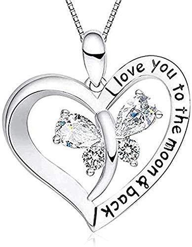 Yiffshunl Collar Amazon I Love You to The Moon and Back Mariposa Diamante Corazón Colgante Collar...