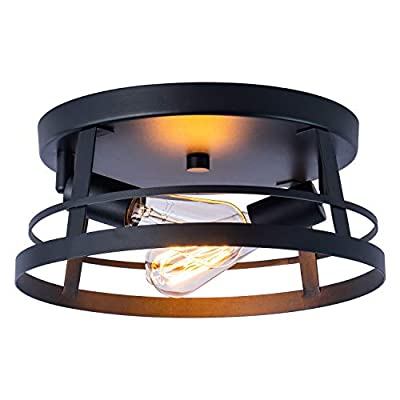 Industrial Close to Ceiling Light Fixtures, Farmhouse Ceiling lamp2-Lights,Metal Black Caged Round Circular,Flush Mount, for Kitchen Island Dining Room Bedroom