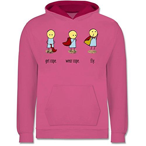 Shirtracer Up to Date Kind - Get Cape. Wear Cape. Fly. - 128 (7/8 Jahre) - Rosa/Fuchsia - Superheld - JH003K - Kinder Kontrast Hoodie