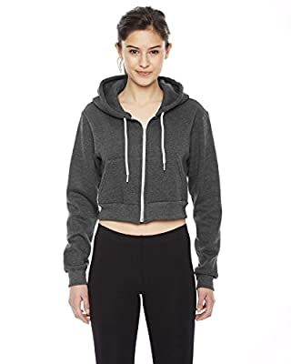 American Apparel Womens Cropped Flex Fleece Zip Hoodie (F397W) -DK Heather -L