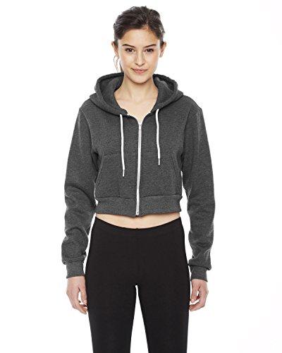 American Apparel Cropped Flex Fleece Zip Hoodie (F397W) Dk Heather Grey, M