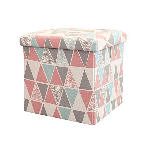 Otomano de Almacenamiento, Taburete de sofá, Caja de Almacenamiento, Banco de Asiento, Hojal (Color : Rosado)