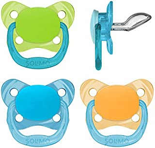 Amazon Brand - Solimo Orthodontic Baby Pacifier, Stage 2 (6-12M), BPA Free, Assorted Colors (Pack of 4)