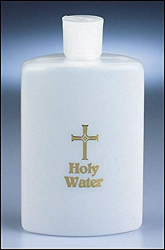 Large 8oz Frosted White Gold Cross Catholic Christian Holy Water Bottle by 1home