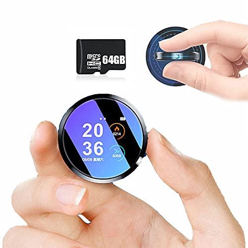 YP 64GB Grabadora de Voz con Rotación de 360° Pulsera Portátil Lente Gran Angular de Anti Vibración Cámara para Reuniones Entrevistas Grabadora de Conducción, Tarjeta de Memoria Incorporada