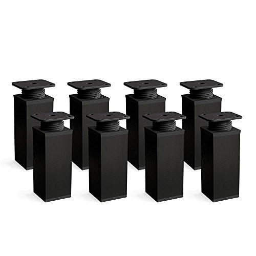 Design-Möbelfüße Doppelpack, 2 x 4er Set (8 Stück), höhenverstellbar | Vierkant-Profil: 40 x 40 mm | Sossai® MFV1-BL060-8 | Farbe: Schwarz | Höhe: 60mm (+20mm) | Material: Aluminium