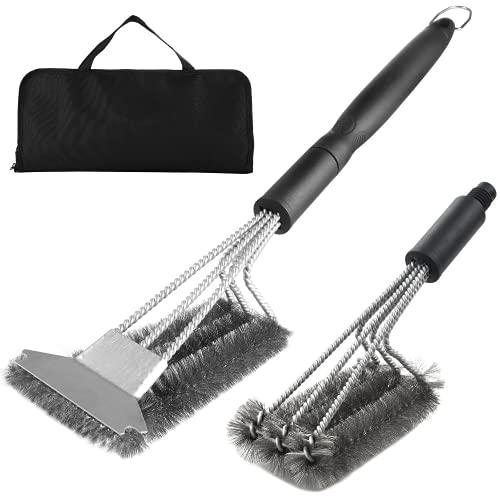 Cepillo de parrilla resistente y raspador con bolsa de transporte - exclusivo kit de limpieza de barbacoa extra cabeza de alambre de barbacoa perfecto para hombres de gas velocidad de regalo/raspar