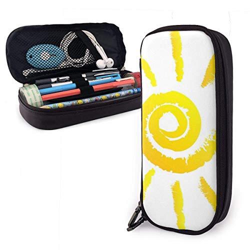 Sonnenleder Federmäppchen Tasche mit Reißverschluss Stift Box Schulmaterial für Studenten, große Kapazität Schreibwaren Box Reise Make-up Tasche für Mädchen Jungen und Erwachsene