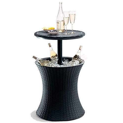 HDJSA Pacific Cool Bar Rattan Patio Pool Cooler Tisch höhenverstellbare für 24 Stunden-Im Sommer Kalte Getränke Funktionstisch Cool bar 49.5 x 57-90 cm