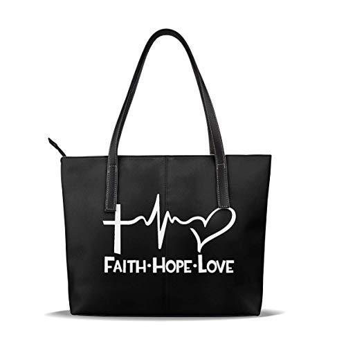 Leder Big Capacity Tote Umhängetasche Faith Hope Love Handtasche für Männer &