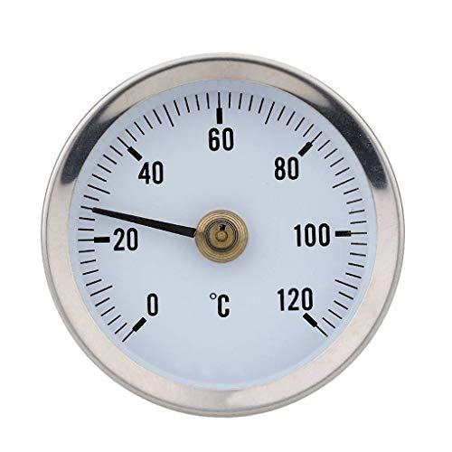 YILONG Hot Water Pipe 120º termómetro bimetálico Tubos de Acero Inoxidable de Superficie con Clip del Medidor de Temperatura Temp de Primavera