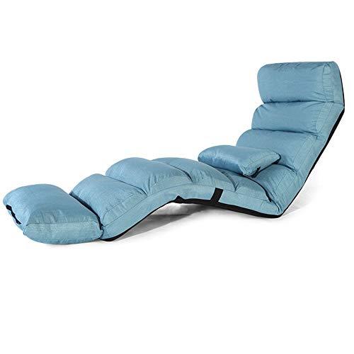 ZEFENG Silla de Ocio para el hogar FENGZE - Sun Hcounger alargar el salón Sofá Cama Plegable Piso Ajustable Lounger Sleeper Futon Mattress Asiento Silla con Almohada (Color : Blue)