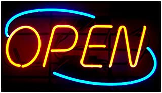 Oval Real Glass Bright NEON Open Sign/Light - NOT LED Open Signs - Vivid Bright Color Big for Shop Store BAR Cafe Restaurant Beer Salon Business
