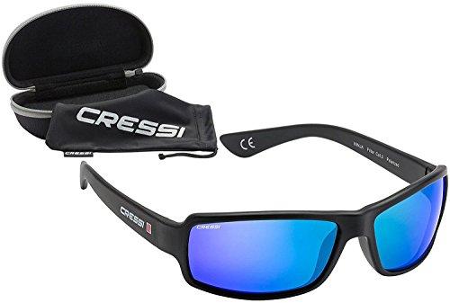 Cressi Ninja Ultra Flex Gafas de Sol, Ultra Flex Talla Única, Negro/Lentes espejadas Azul