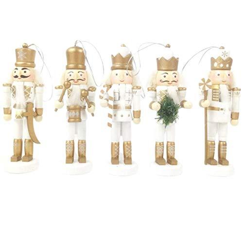 Siunwdiy Cascanueces de la Navidad fijados Cascanueces de Madera Que cuelga Decoraciones para Navidad Regalos Juguetes Figuras 5 Piezas Vector de la decoración,Blanco