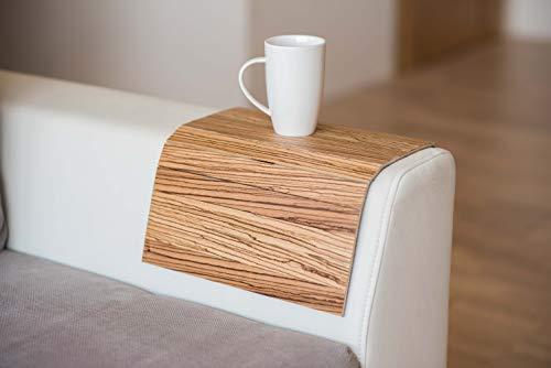 Divano in legno esotico per braccioli, divani, tavoli, sottobicchiere, vassoio per divano (zebrano)