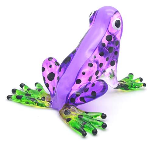 Zoo Craft Hand Blown Glass Figurine Purple Frog Handmade Miniature Animal Art
