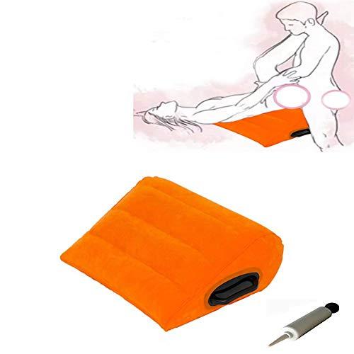 Cuscini lombari LIKE99 Gonfiabile per Sesso, Cuscino da Viaggio per Sedia reclinabile per Yoga, Poltrona per Yoga, Poltrona da Postura Triangolare di Grandi Dimensioni, Arancione