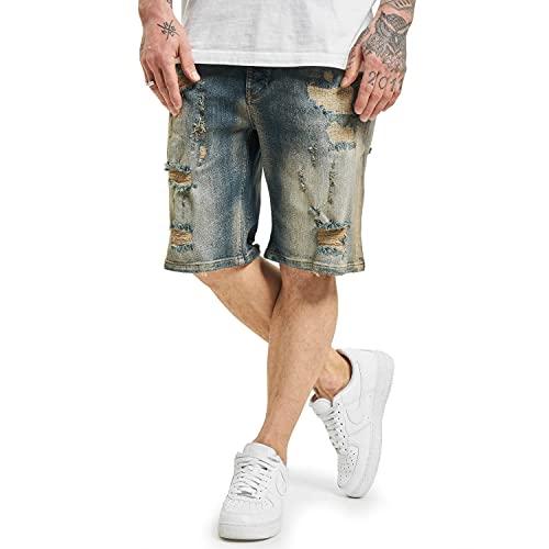 Yakuza Herren Wreckin Jeansshorts, Mid Blue Vintage Destroyed, 32W