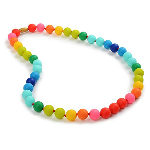 Chewbeads Christopher Teething Necklace (Rainbow) - Original Fashionable Teething Jewelry for Mom. 100% Medical Grade Silicone Safe for Teething Babies and Toddlers. BPA-Free